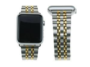 Hantop Apple Watch Band 42mm Stainless Steel Accessories Bands for Apple Watch Series 1/2/3 ( H7 Silver Gold )