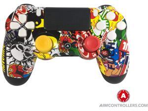 PS4 DualShock 4 Playstation 4 Wireless Controller - Custom AimController Sticker Bomb Design with 4 Paddles and Interchangeable AiM Sticks