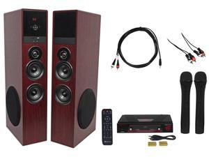 Rockville Bluetooth Home Theater/Karaoke Machine System w/(2) Subs+Wireless Mics