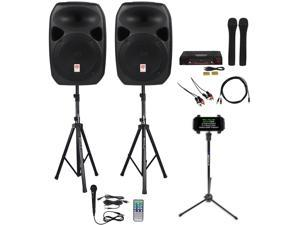 """rockville power gig rpg122k all in one dj/pa package 2 12"""" dj/pa speakers 1000 watts peak power/250 watts rms with built in bluetooth, usb/sd player, fm tuner, speaker stands and a wired microphone"""