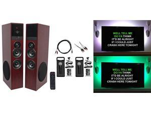 Rockville Bluetooth Home Theater/Karaoke Machine System W/LED'S+Subs+(2) Mics