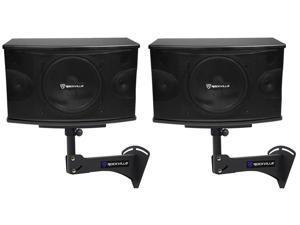 """2) Rockville KPS10 10"""" 3-Way 1200w Karaoke/Pro Speakers+Adjustable Wall Brackets"""