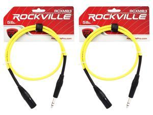 2 Rockville RCXMB3-Y Yellow 3' Male REAN XLR to 1/4'' TRS Balanced Cables