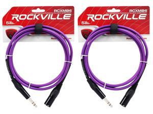 2 Rockville RCXMB6-P Purple 6' Male REAN XLR to 1/4'' TRS Balanced Cables