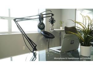 """Rockville DMS40 40"""" Microphone Boom Arm Studio Podcast USB Mic Stand+Desk Clamp"""