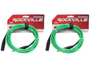 2 Rockville RCXMB10-G Green 10' Male REAN XLR to 1/4'' TRS Balanced Cables
