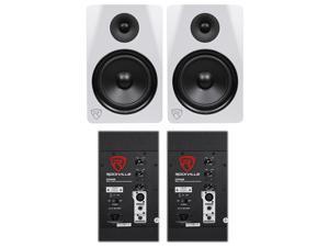 """(2) Rockville DPM8W Dual Powered 8"""" 600 Watt Active Studio Monitor Speakers"""