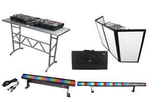 "Odyssey ATT DJ Table + Scrim Werks SWF4846B 4x24"" Façade Barrier + LED Lights"