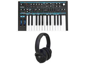 Novation BASS STATION II 25-Key Analog Keyboard USB Synthesizer + KRK Headphones