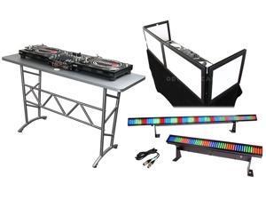 Odyssey ATT DJ Table + Scrim Werks SWFTT5816B Tabletop Façade + LED Lights