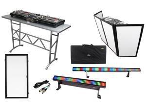 """Odyssey ATT DJ Table + Scrim Werks SWF4846B Façade +Extra 24"""" Panel +LED Lights"""