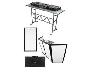 "Odyssey ATT DJ Table + Scrim Werks SWF4846B Façade Barrier + Extra 24"" Panel"