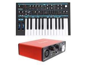 Novation BASS STATION II 25Key MIDI USB Keyboard Synthesizer+Focusrite Interface