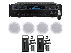 """Technical Pro 1500 Watt Home Karaoke Machine System+(4) 8"""" Ceiling Speakers"""