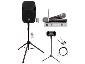 """Rockville 15"""" Karaoke Machine System w/LED Stand+Tablet Stand+(2) Wireless Mics"""