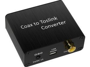 XtremPro Coaxial To Toslink Digital Audio Converter, Support PCM & Bitstream signals, for Home theater, Computer Musical - Black (65039)