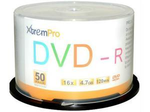 XtremPro DVD-R 16X 4.7GB 120Min DVD 50 Pack Blank Discs in Spindle - 11032
