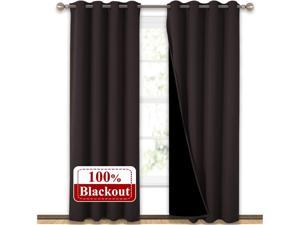 PANOVOUS Complete 100% Blackout Curtains, Thermal Insulated & Energy Efficiency Window Draperies with Black Liner, Noise Reducing Short Curtains for Kids Room (Brown, 42-inch W by 63-inch L, 2 Panels)