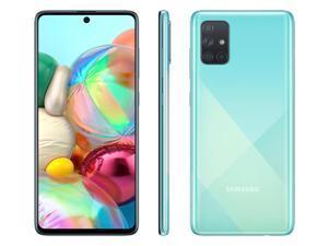 "Samsung Galaxy A71 (A715F) 6.7"" Super AMOLED Plus Screen, 128GB Memory + 6GB RAM, in-Screen Fingerprint, US + Global 4G LTE, GSM Unlocked, International Model - (Prism Crush Blue)"