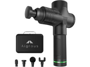 Aigrous A9 Massage Gun Deep Tissue Percussion Muscle Massager for Pain Relief, Handheld Electric Body Massager Sports Drill Portable Super Quiet Brushless Motor(Black)