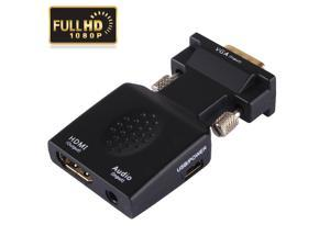 VGA to HDMI Adapter/Converter with Audio (Old PC to New TV/Monitor with HDMI), Aigrous Male VGA to HDMI Video Adapter for TV, Computer, Projector with Audio 3.5mm Audio Cable Included