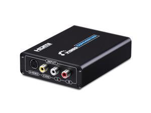 Aigrous 3RCA AV CVBS Composite & S-Video R/L Audio to HDMI Converter Adapter Upscaler Support 720P/1080P with 3RCA S-Video Cable for DVD VCR PS2 PS3 Xbox HDTV