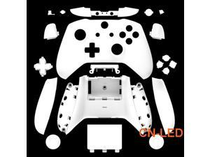 WPS Matte White Case Housing Full Shell Set Faceplates + ABXY Buttons + RB LB Bumpers + Right/Left Rails for Xbox One S Slim  (3.5mm Headphone Jack) Controllers for 1708 version