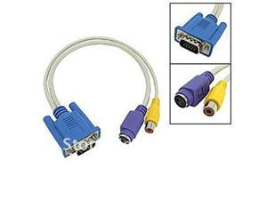 New VGA D-SUB TO TV RCA S Video Converter Adapter Cable PC #DY118