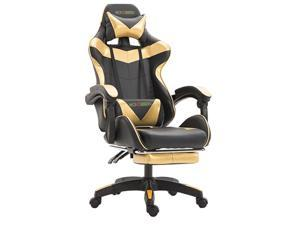 Wokossen Gaming Chair Racing Style Office Chair Adjustable Lumbar Cushion Swivel Rocker Recliner Leather High Back Ergonomic Computer Desk Chair with Retractable Footrest(Black/Gold)