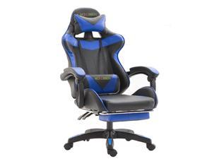 Wokossen Gaming Chair Racing Style Office Chair Adjustable Lumbar Cushion Swivel Rocker Recliner Leather High Back Ergonomic Computer Desk Chair with Retractable Footrest (Black/Blue)