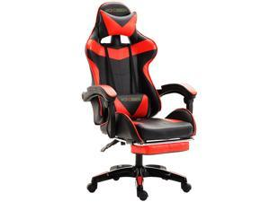 Wokossen Gaming Chair Racing Style Office Chair Adjustable Lumbar Cushion Swivel Rocker Recliner Leather High Back Ergonomic Computer Desk Chair with Retractable Footrest (Black/Red)