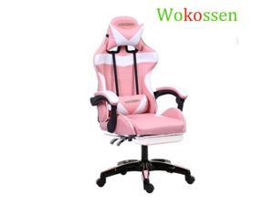 Wokossen Gaming Chair Racing Style Office Chair Adjustable Lumbar Cushion Swivel Rocker Recliner Leather High Back Ergonomic Computer Desk Chair with Retractable Footrest (Pink/White)