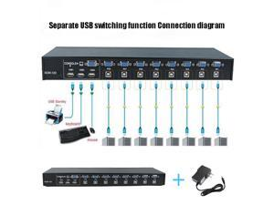 8 Ports USB 2.0 VGA External KVM Switch Box Manual Switcher Support for 1920x1440 VGA Splitter Adapter 1080P