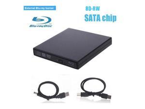SATA Interface-External USB 2.0 Blu-ray Drive Player Burner DVD-RW,BD-RW BD DVD CD RW Burner Writer Drive For windows Mac OS(Black)