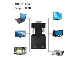 1080P VGA Male to HDMI Female With 3.5mm Audio USB Cable Converter Adapter