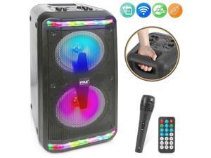 Portable Bluetooth PA Speaker System - 600W Rechargeable Outdoor Bluetooth Speaker Portable PA System w/Recorder, Microphone in, Party Lights, USB SD Card Reader, AUX, Radio, Remote - Pyle PPHP288B
