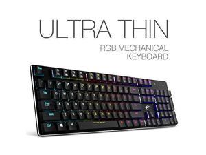 Mechanical Keyboard HAVIT RGB Backlit Wired Gaming Keyboard Extra-Thin & Light, Kailh Latest Low Profile Blue Switches, 104 Keys N-key Rollover HV-KB395L (Black)