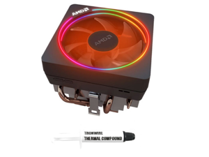 AMD Wraith Prism Socket AM4 4-Pin Connector CPU Cooler With Copper Core Base & Aluminum Heatsink & 4.13-Inch Fan With TRONWIRE Thermal Paste For Desktop PC Computer
