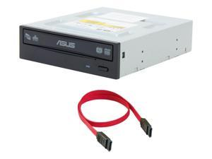 ASUS 24x DVD±RW DL Multi Burner Writer Internal SATA Optical Drive With TRONWIRE SATA Cable For Desktop PC Computer