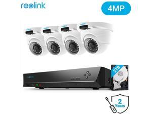 Reolink 8CH 4MP PoE Home Security Camera System, 4x 1440P HD Outdoor PoE Dome IP Cameras D400 and 2TB HDD NVR, 100ft Night Vision Audio, RLK8-420D4-4MP
