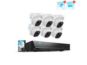 Reolink 8CH 4K Outdoor Security Camera System, 6pcs 8MP Smart Person/Vehicle Detection Wired PoE IP Dome Cameras, 8CH 2TB HDD NVR for 24/7 Recording Remote Access, RLK8-820D6-A
