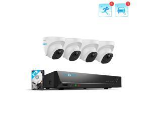 Reolink 8CH 4K Security Camera System 4pcs 8MP Smart Person/Vehicle Detection Wired Outdoor PoE IP Dome Cameras and 8CH 2TB HDD NVR for 24/7 Recording, RLK8-820D4-A