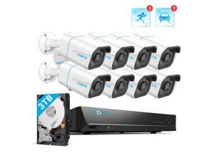 Reolink 16CH 4K Security Camera System, 8pcs 8MP Smart Person/Vehicle Detection Wired Outdoor Audio PoE IP Cameras,16CH 3TB HDD NVR for 24/7 Recording, RLK16-810B8-A