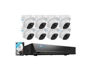 Reolink 8CH 5MP PoE Home Security Camera System, 8pcs Wired 5MP Outdoor PoE IP Dome Cameras, 8MP/4K 8CH NVR with 2TB HDD for 24/7 Recording, RLK8-520D8-5MP