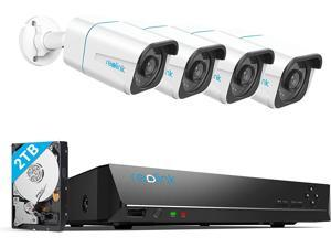Reolink 8CH 4K Security Camera System 4pcs 8MP Smart Person/Vehicle Detection Wired Outdoor PoE IP Cameras and 8CH 2TB HDD NVR for 24/7 Recording, Remote Access, RLK8-810B4-A