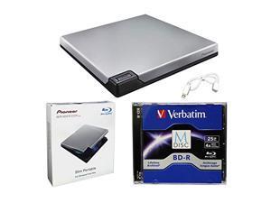 Pioneer BDR-XD07S Portable 6X Blu-ray Burner External Drive Bundle with 25GB M-DISC BD-R and USB Cable - Burns CD DVD BD DL BDXL Discs