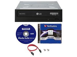 LG WH16NS60 16x Internal Blu-ray BDXL M-Disc Drive (with Ultra HD 4K Playback) Bundle with 50GB Verbatim M-Disc BD-R DL,Cyberlink and Cable
