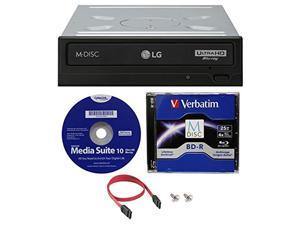 LG WH16NS60 16x Internal Blu-ray BDXL M-Disc Drive (with Ultra HD 4K Playback) Bundle with 25GB Verbatim M-Disc BD-R,Cyberlink and Cable