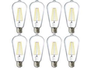 Sunco Lighting 8 Pack ST64 LED Bulb, Dimmable, Waterproof, 8.5W=60W, 4000K Cool White, Vintage Edison Filament Bulb, 800 LM, E26 Base, Restaurant or String Lights - UL
