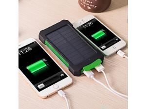 10000mAh Power Bank Waterproof Shock Drop Resistance Dual USB Travel Solar Charger PowerBank For Android Smart Phone